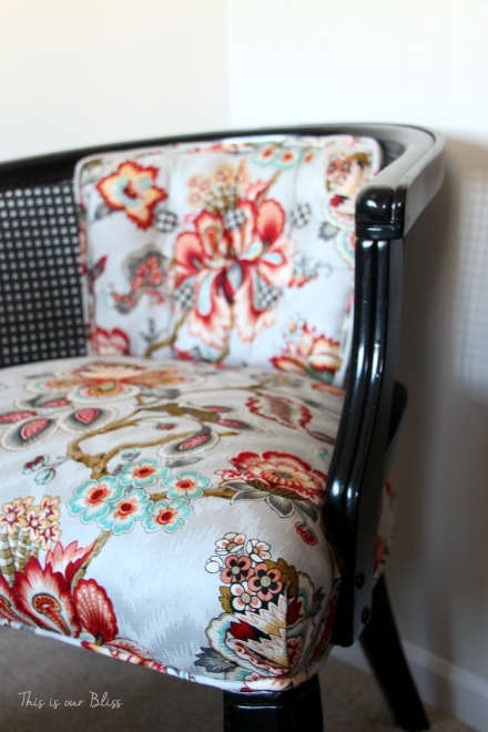floral and houndstooth cane chair makeover - HGTV fabric - This is our Bliss