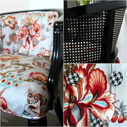 cane chair makeover - floral and houndstooth fabric - Guestroom revamp - This is our Bliss
