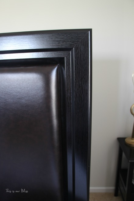 espresso wood & leather headboard corner before - guestroom revamp - This is our Bliss