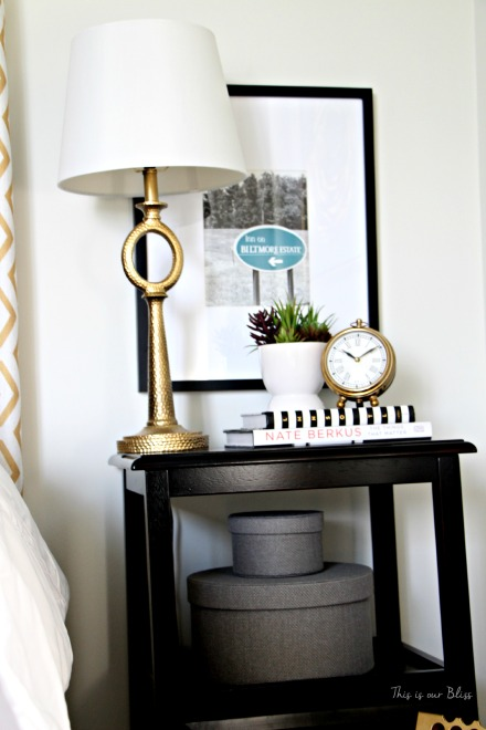 Guestroom revamp - bedside table - gold lamp & clock - succulent - Nate Berkus book -This is our Bliss