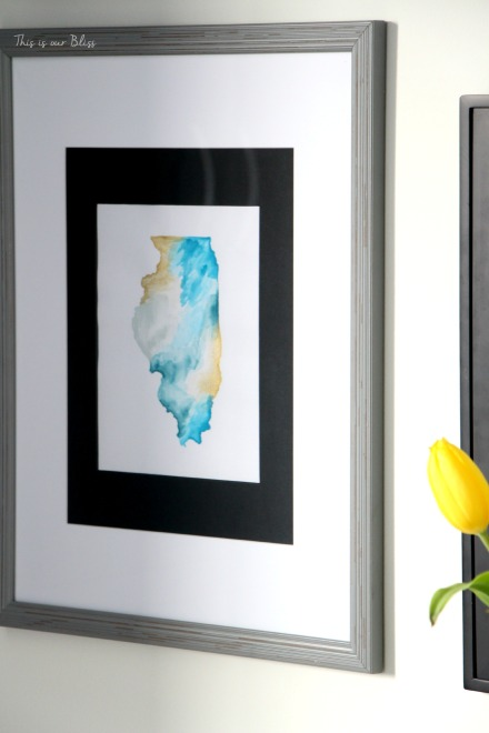 Guestroom revamp - gallery wall - Illinois watercolor - This is our Bliss