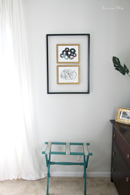 Guestroom revamp - Minted art - open frame - luggage rack - This is our Bliss
