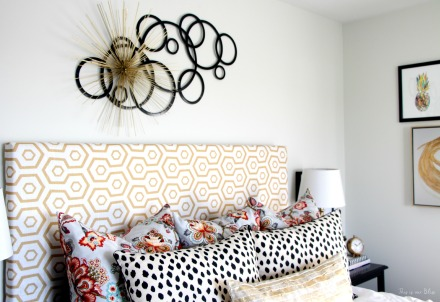 Guestroom revamp - pattern play - floral, dalmation, geo, gold - This is our Bliss