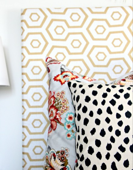 Guestroom revamp - pattern play pillows - floral - dalmation - hexago - This is our Bliss