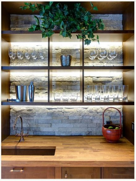 open shelves - stone backwall
