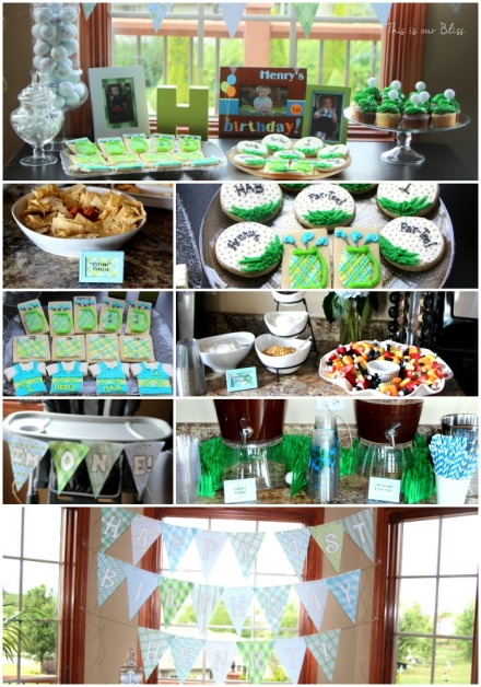 golf-themed birthday party - club sandwiches - yogurt par-fait bar - golf cookies - This is our Bliss