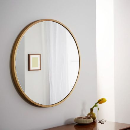 West Elm round gold mirror