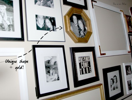 octagon thrifted frame - gallery wall - black white and gold - this is our bliss