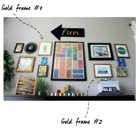 playroom gallery wall with pair of gold goodwill frames - this is our bliss