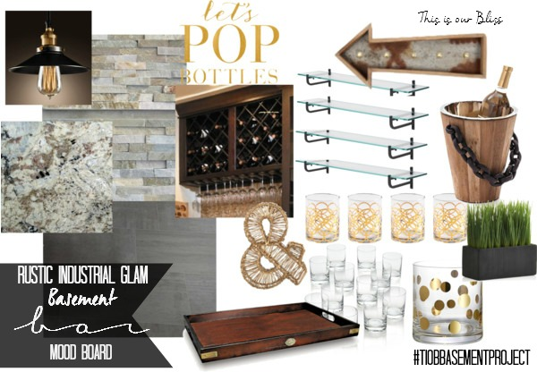 Basement Bar Mood Board Rustic Industrial Glam This Is