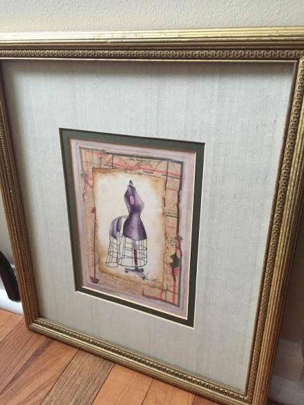 thrift store art in gold frame