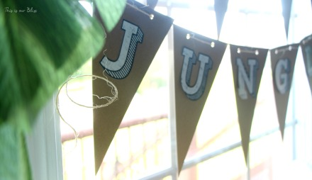 Welcome to the Jungle DIY bunting - safari jungle birthday party - first birthday party - party decorations - DIY party decorations - This is our Bliss