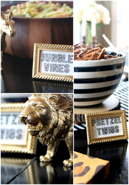 Welcome to the Jungle - safari jungle birthday party - first birthday party - party decorations - DIY party decorations - diy food labels - This is our Bliss