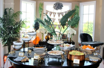 Welcome to the Jungle - safari jungle birthday party - first birthday party - party decorations - DIY party decorations - food table - This is our Bliss