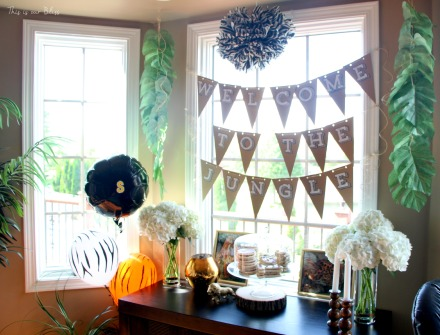 Welcome to the Jungle - safari jungle birthday party - first birthday party - party decorations - DIY party decorations - This is our Bliss