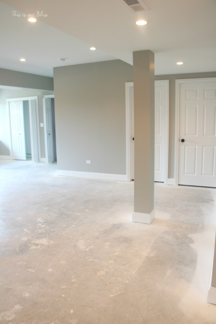 basement progress - paint & can lights - This is our Bliss