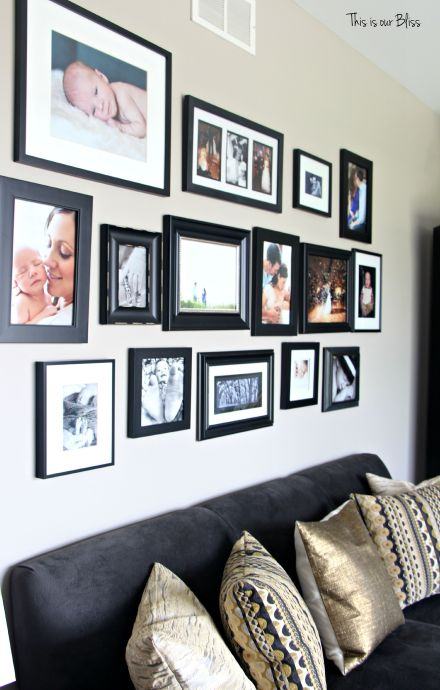 Formal living room gallery wall - black frames over couch - how to gallery wall - this is our bliss