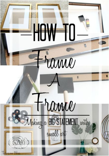 How to frame a frame - making a big statement with small art - This is our Bliss - Minted art - thrifted gold frames