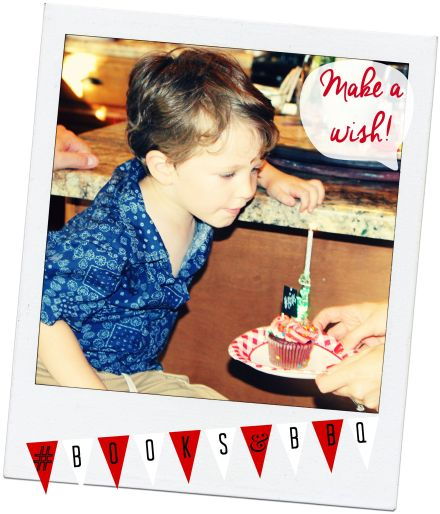 Books & Bbq birthday bash - 3 year old summer birthday party - make a wish - This is our Bliss