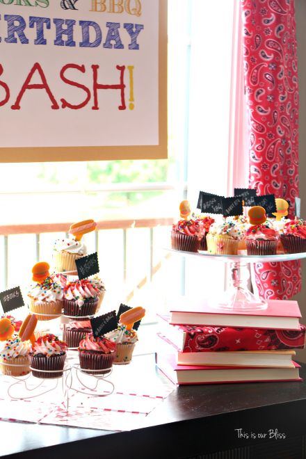 Books & BBQ birthday bash - 3rd birthday party - summer party - cupcakes 1 - This is our Bliss