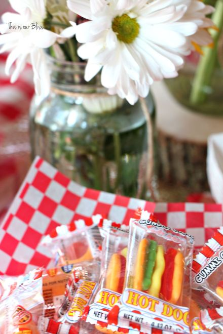 Books & BBQ birthday bash - 3rd birthday party - summer party - table set-up - red gingham - hot dog candy gummies - This is our Bliss