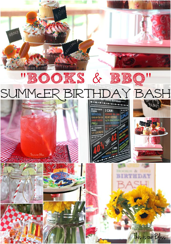 Books & BBQ summer birthday bash - DIY summer birthday party - this is our bliss