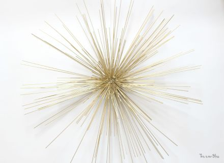 layered wall art - gold urchin on top of metal circles piece - unique wall hanging - This is our Bliss