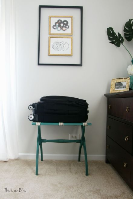 luggage rack makeover - great find + quick fix - diy guestroom luggage rack - This is our Bliss
