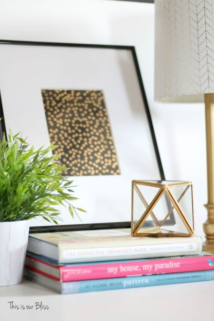 black & gold foil polka dot journal turned art - guestroom art - gallery wall - vignette 1 - This is our Bliss