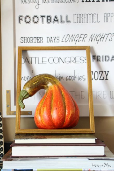 fall decor - fall entry way - fall vignette - open framed gourd - DIY fall word art - this is our bliss