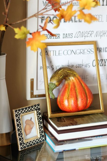 Fall entryway - fall vignette - entryway table styling - fall decor - neutral fall decor - DIY fall word art -- open frame - This is our Bliss