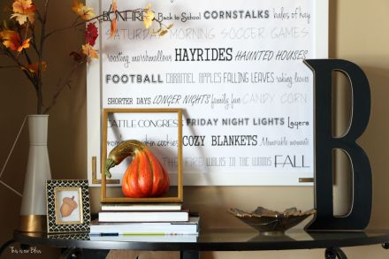 Fall entryway - fall vignette - entryway table styling - fall decor - neutral fall decor - oversized DIY fall word art - leaves - open frame - This is our Bliss