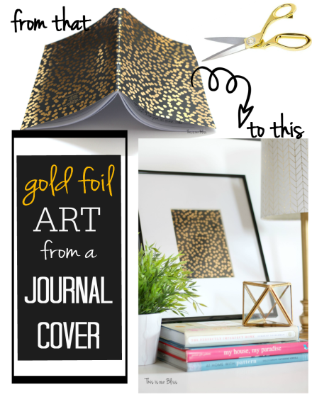 gold foil art from a journal cover - think again thursday - how to create unexpected wall art - DIY wall art - This is our Bliss