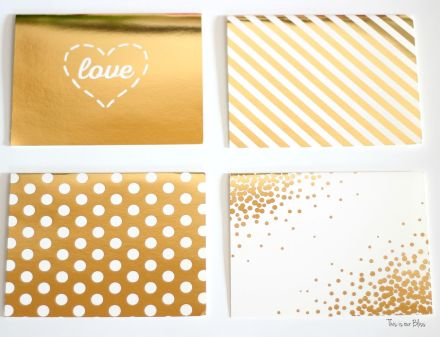 gold foil greeting cards - turn into wall art - michaels greeting card pack - This is our Bliss