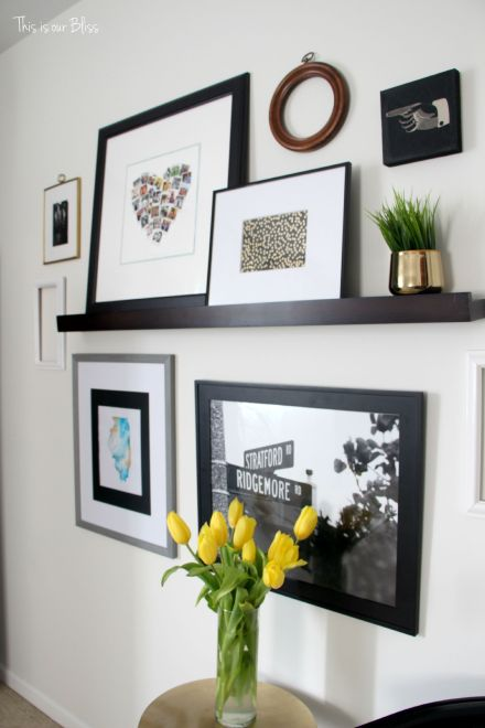 guestroom revamp - gallery wall - picture ledge - gold foil journal turned art - This is our Bliss