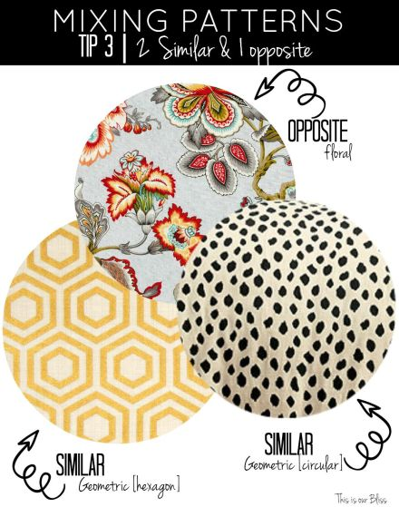 How to mix patterns - mixing patterns - tip 3 - similar and opposite - geometric vs floral - This is our Bliss