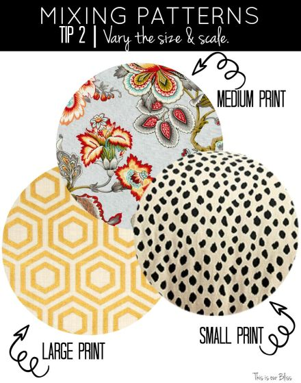 how to mix patterns - tip 2 - vary the size & scale - small, medium large - This is our Bliss