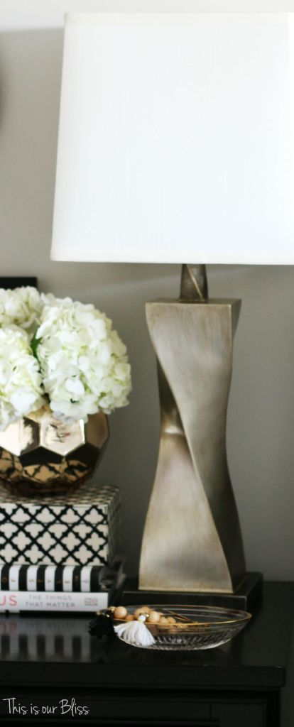 How to style a nightstand - elements of a well-styled nightstand - bedside table styling - view from the bed - lamp - This is our Bliss
