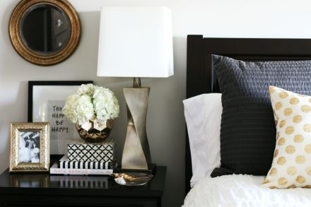 How to style a nightstand - elements of a well-styled nightstand - bedside table styling - view from the bed - large nightstand- This is our Bliss