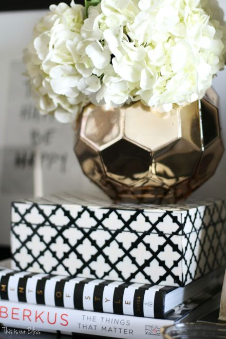 How to style a nightstand - elements of a well-styled nightstand - fresh flowers in vase - This is our Bliss