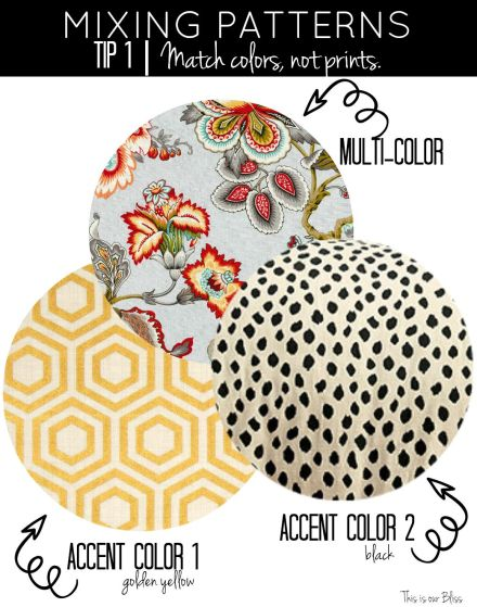 how to mix patterns - mixing patterns - tip 1 - match colors, not prints - multi color + 2 accent colors - This is our Bliss