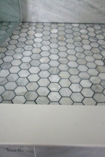 TIOB basement project - basement bathroom - marble tile & marble hexagon marble floor - This is our Bliss